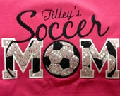 Soccer Mom T-Shirt - Bling Sparkle Baseball Applique - Personalized Embroidered - Custom Team Shirt
