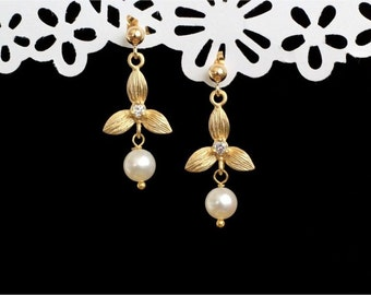 June Birthstone Earrings, Gold Orchid Connectors with CZ, White Freshwater Potato Pearls, Gold-filled Earstuds. Nature Inspired. E131.