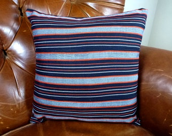Kente Pillow Cover - Ohio State Colors - Ghana - 14 x 14 - Handmade Textiles - West Africa