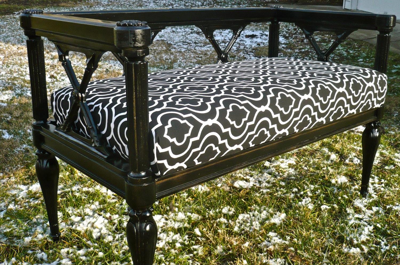 Wood Bench Vintage Upholstered Bench Federal Crossed Arrows