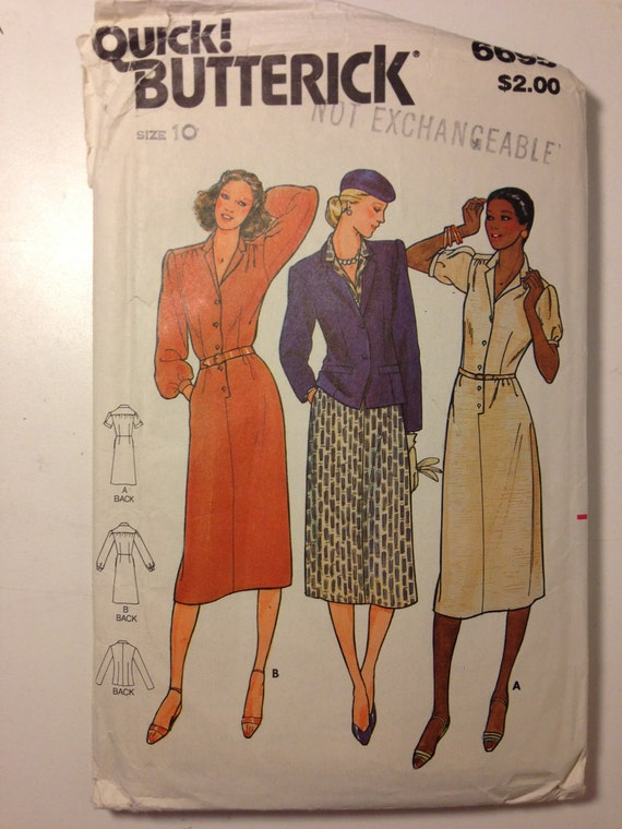 Butterick Sewing Pattern 6695 80s UNCUT Misses Jacket and Dress Size 10 Sale