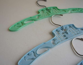 VIntage Blue and Green Childrens Hangers
