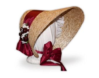 MTO Austentation Trimmed Victorian / Civil War Spoon Bonnet 1850's-1860's: choose your color!