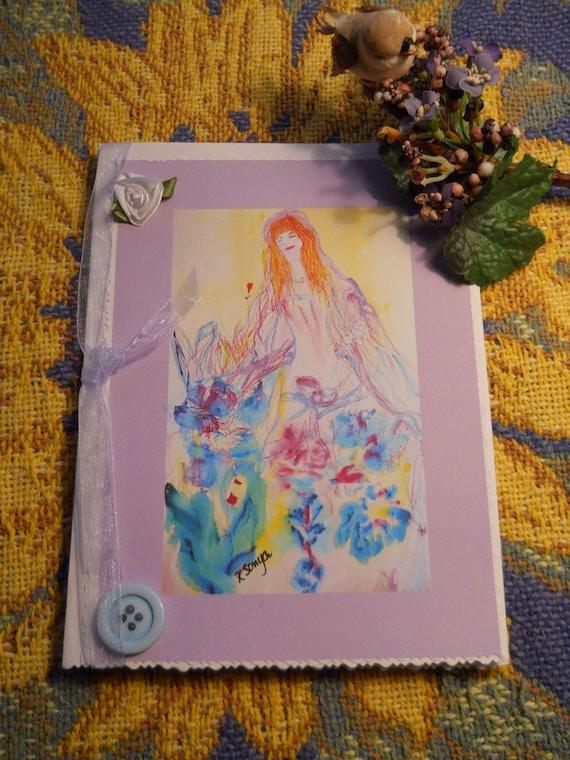 Guardian Angel, Angel Cards, Angel Watercolor Prints, Inspirational Cards, Womens Art Cards, Kathleen Leasure, FromGlenToGlen
