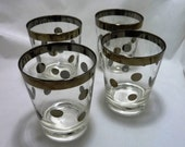 Mid Century Dorothy Thorpe Style Silver Dotted Lowball Glasses - Set of Four