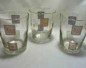Mid Century Lowball Glasses - Set of Three Square Pattern