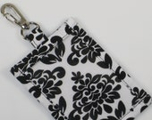 Lanyard ID Holder, Black and White Damask Cotton Clip On ID Holder with Hidden Cash Stash and Optional Matching Lanyard