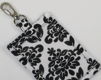 ID Holder, Black and White Damask Cotton Clip On ID Holder with Hidden Cash Stash and Optional Matching Lanyard