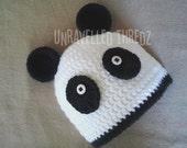 Baby Panda Bear Hat- Black and White Panda Hat Newborn- Toddler Sizes