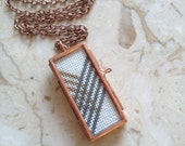 Bronze Glitter & Grey Chevron Cross Stitch Necklace