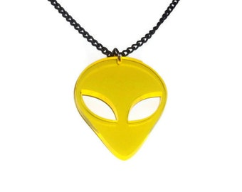 Alien Necklace, Retro 90s, Yellow UV Acrylic