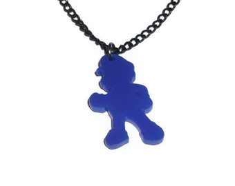 Mario Necklace, Super Mario Brothers, Blue Laser Cut Jewelry