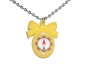 Yellow Gnome Necklace, Cute Kitsch Cameo Necklace