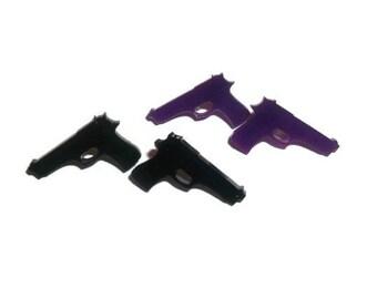 Gun Earrings, Black Pistol Stud Earrings, Or Purple, Choose 1