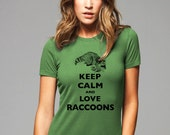 Keep Calm and Love Raccoons T-Shirt - Soft Cotton T Shirts for Women, Men/Unisex, Kids