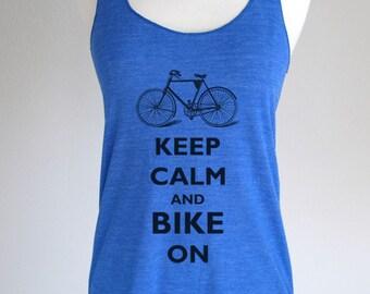 Keep Calm And Bike On Soft Tri-Blend Racerback Tank