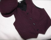 Wine colored boys  VEST and matching BOW TIE set