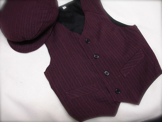 wine colored boys vest and matching bow tie set by
