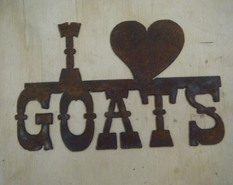 I Heart Goats Rusted Metal Sign FREE SHIPPING