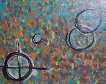 Spy Glass 16x20 Canvas Abstract Art Handpainted Acrylic Original Painting