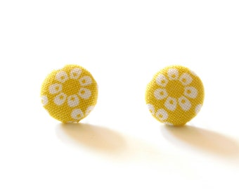 Earrings / Bright Yellow flowers / Fabric Cover Buttons on surgical steel posts