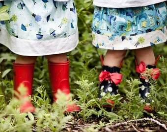 Girls Rainy Day Skirt / Rain boots and umbrellas in blues and greens / 6 months to 10T / Made to Order