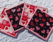 Valentine Hearts Quilted Coasters - Set of 4 - Pink, Red, Black, Hearts - Mini Quilts