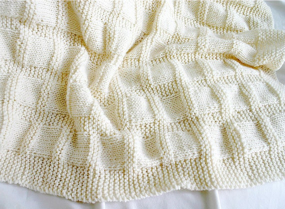 Knit Baby Blanket- Cream White, Antique White- Boy or Girl- Made To Order- Hand Knitted Afghan- Worsted Weight- 33x36