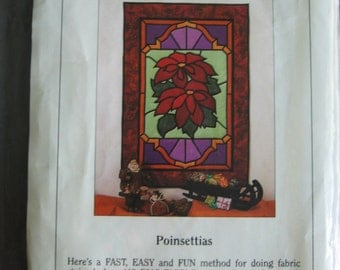 Christmas Poinsettias Wall Quilt Pattern  by Spectral Designs finished 25 1/2 x 37 3/8 Quilting