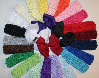 You Choose - Set of 5 Crochet Waffle Elastic Headbands - Interchangeable - Embelish With Flower or Boutique Hair Bow - Ships IMMEDIATELY
