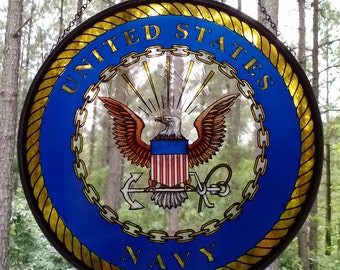 US NAVY HAND-PAlNTED STAlNED glass Medallion