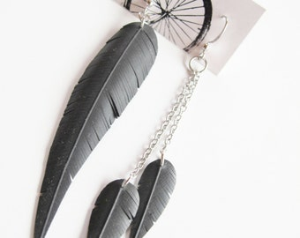 Asymmetrical Feather and Chain Earrings - Recycled Jewelry - bicycle parts - mismatched earrings