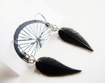 Small Innertube Feather Earrings - Recycled Jewelry - handmade - bike - black - bicycle
