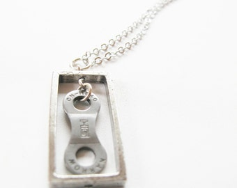 Bicycle Chain Link Necklace - Recycled Jewelry - handmade - bike