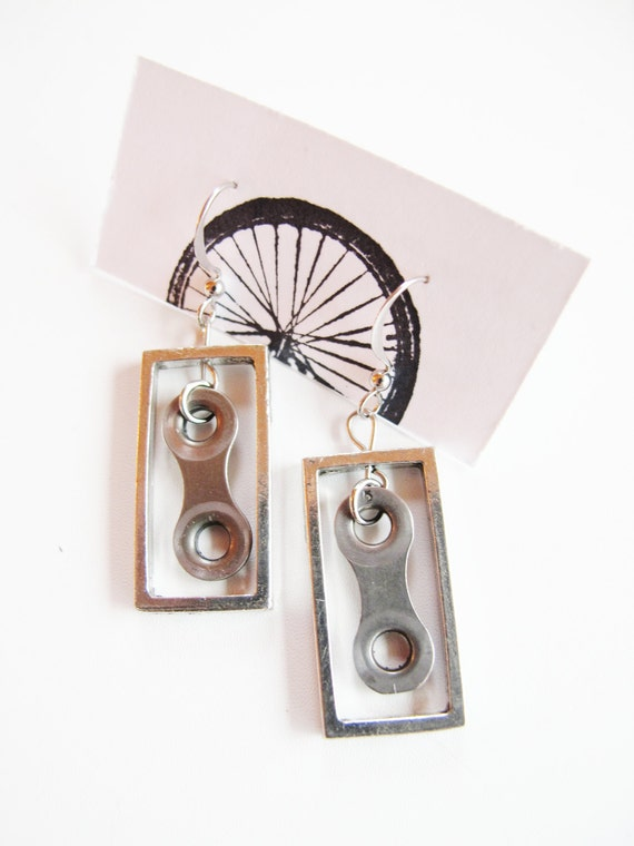 Bicycle Chain Link Earrings - Recycled Jewelry - handmade - bike - upcycled -  repurposed