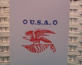 Set of 5 Hand Stamped USA Cards, Hello or Thank You