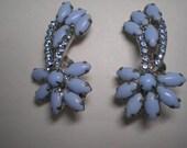 D&E aka JULIANA Opaque Blue Clip Earrings   Item No: 16538