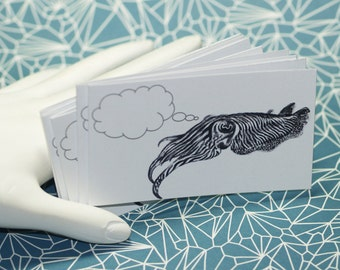 COGITATING CUTTLEFISH ... 5 Mini Notecards . Ocean Animal . Cephalopod . Captioned Critters . Quirky . Gift Cards . Folded Notes . Tentacles
