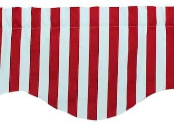 Red stripe shaped valance