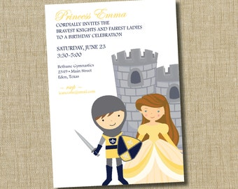 Princess and Knight birthday invitation.