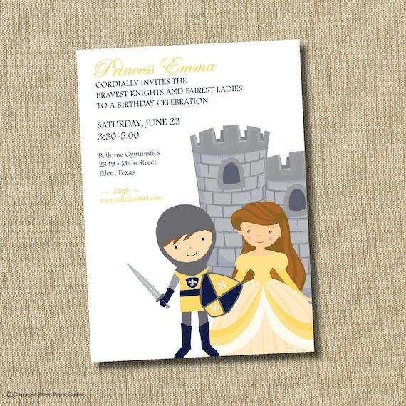 Einladung Prinzessin Und Ritter Geburtstag.