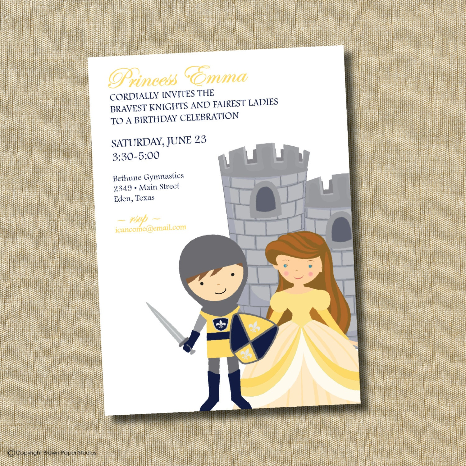 Princess and Knight birthday invitation – Princess and Knight Party Invitations