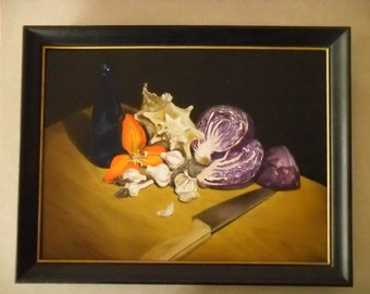 Oil Painting: A Dissected Cabbage and Her Esteemed Guests - Original Still Life by Jeddin White