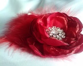 Crimson bridal fascinator, red wedding accessory, deep red feathered hair flower, ruby photography prop
