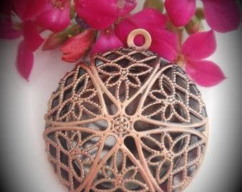 Round Filigree Copper Locket Pendant
