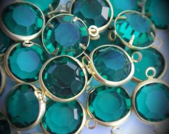 Genuine Gold Plated Swarovski Crystal Channel Round Link Connector Emerald 12mm