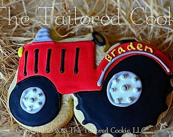 Tractor Shortbread Sugar Cookie Favors by The Tailored Cookie
