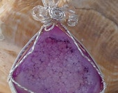 Pink Druzy Agate Pendant, Traditional Wire Wrap