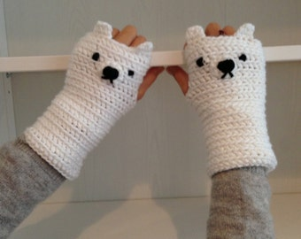 Crochet little bear fingerless gloves , crochet fingerless gloves for adult and teens, CUSTOMIZE fingerless gloves