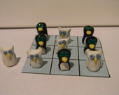 Reserved for Jamie Skinner: Winter Polymer Clay Penguins and Owls Tic Tac Toe